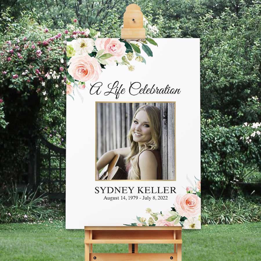 Memorial Service Decoration Celebration of Life Sign Funeral Welcome Sign Custom Memorial Poster Funeral Poster Elegant Lace