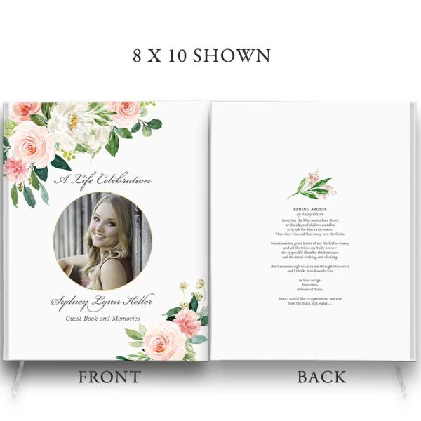 Funeral Guest Book Customized Memorial Photo Florals