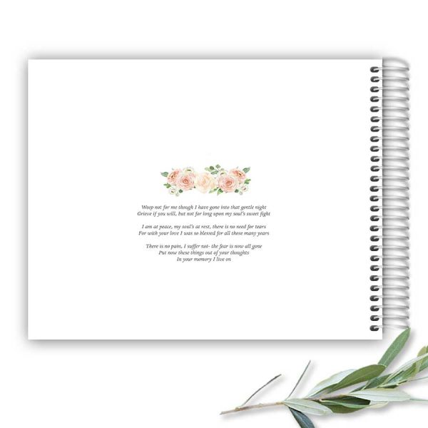 Guest Sign In Books Funeral Celebration of Life Peach Floral Customized