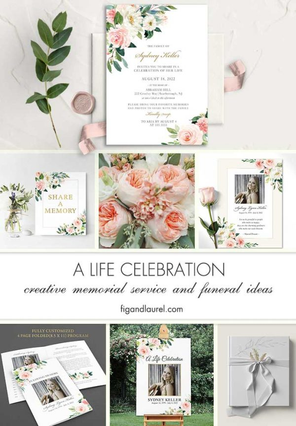 Funeral Invitation Printed Custom Floral And Greenery