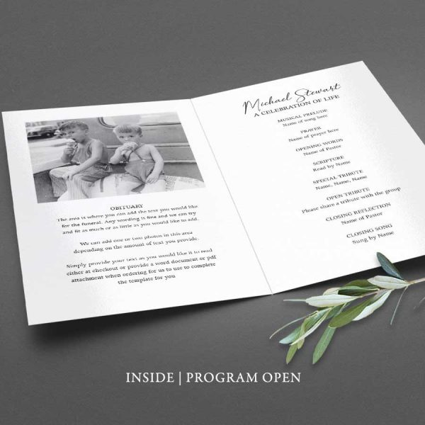 Funeral Program Template Masculine Printable Digital File