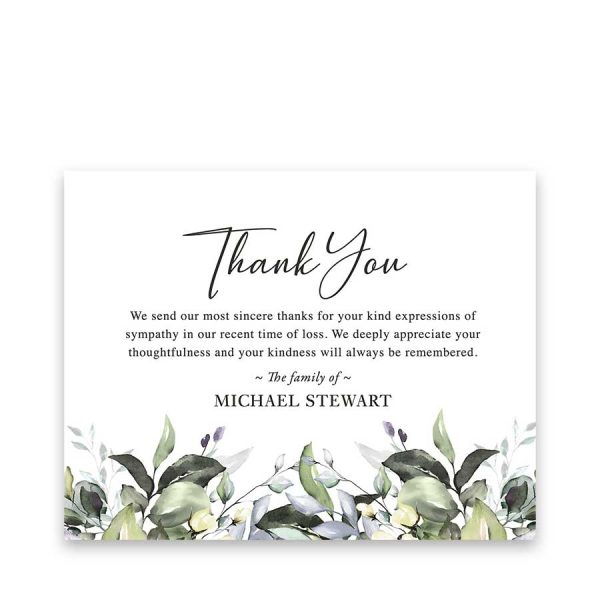 Bereavement Funeral Thank You Card