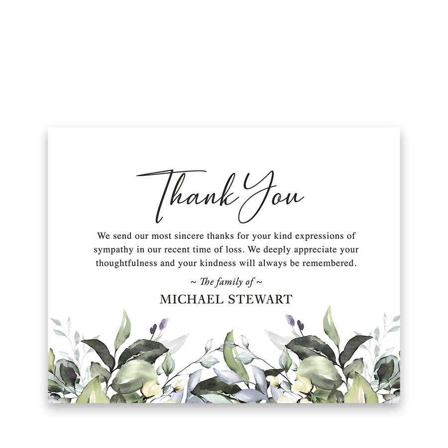 Bereavement Funeral Thank You Card Customized with Your Wording Within Sympathy Thank You Card Template