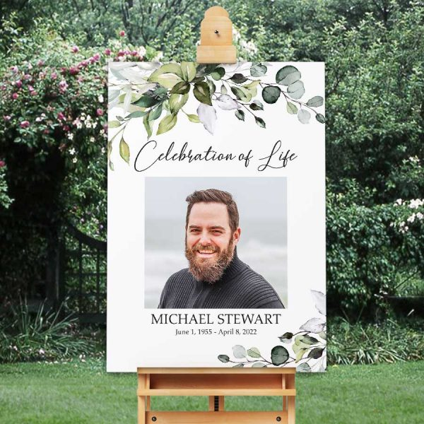 Greenery Funeral Welcome Signs Printed With A Photo