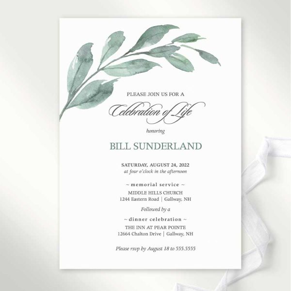 Greenery Invitation for a Celebration of Life