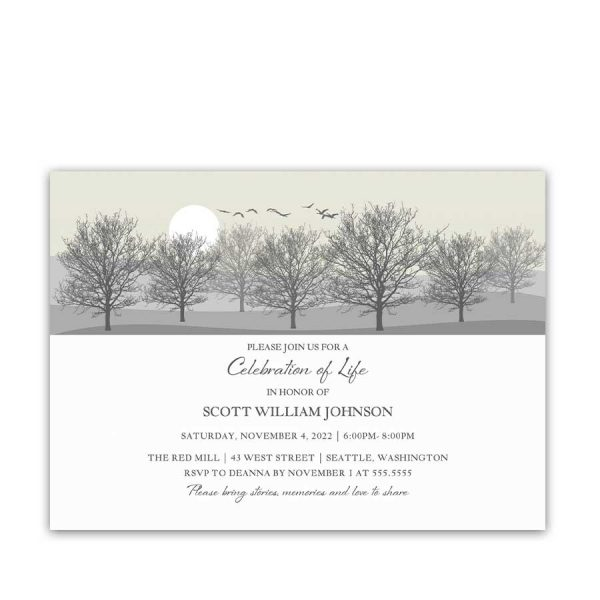 Life Celebration Invitation Tree Silhouettes for Funerals