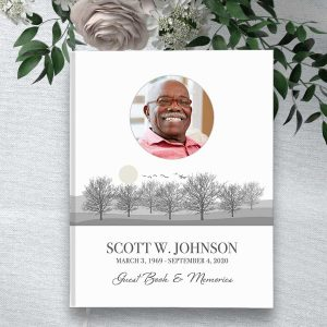 Funeral Guest Book Custom Photo Tree Silhouette