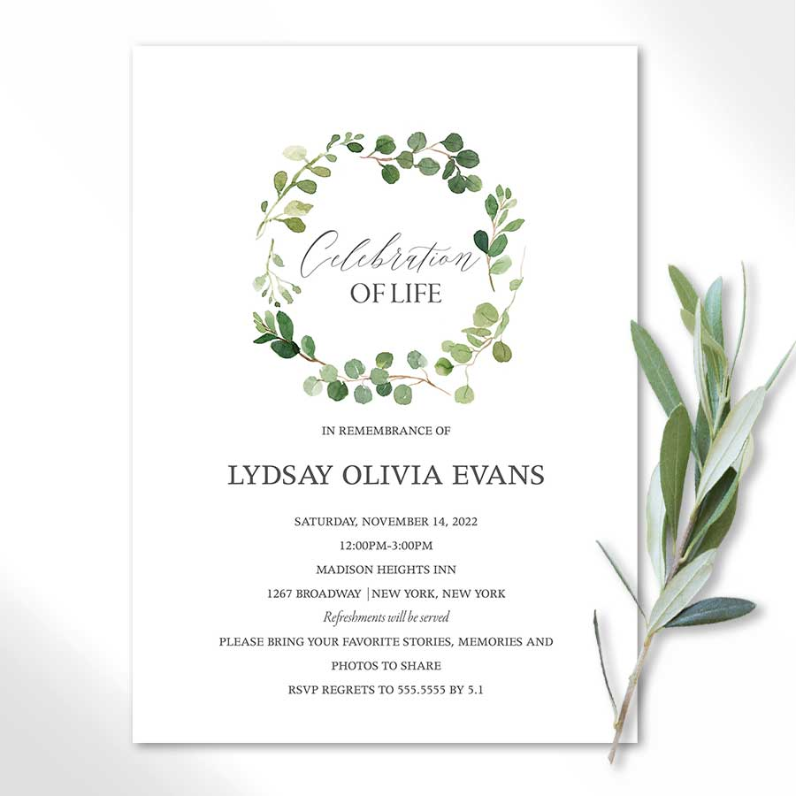Memorial Service Invitation Printable Template for a Celebration