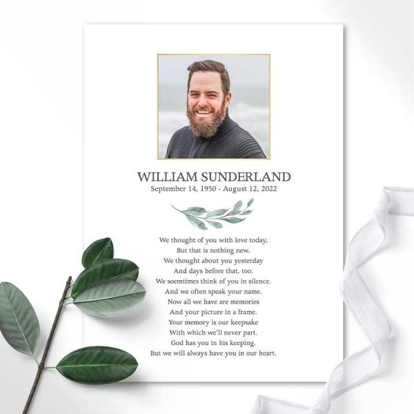 Tribute Card Template For Memorial Services