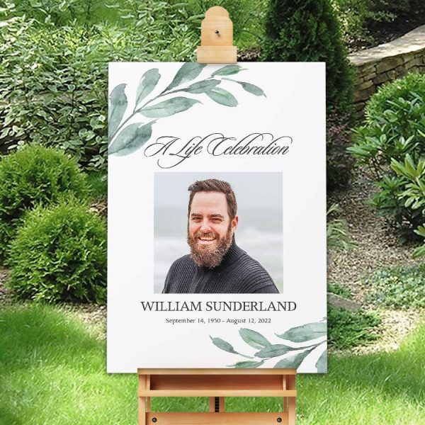 Printable Funeral Welcome Sign File Watercolor Greenery