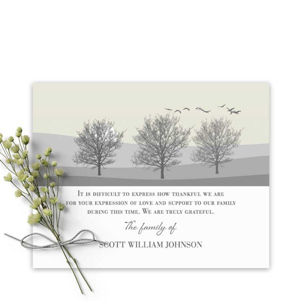 Customized Funeral Thank You Card with Tree Silhouettes