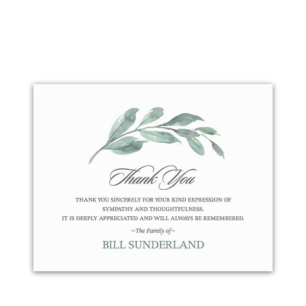 Funeral Thank You Card Digital Templates with Greenery