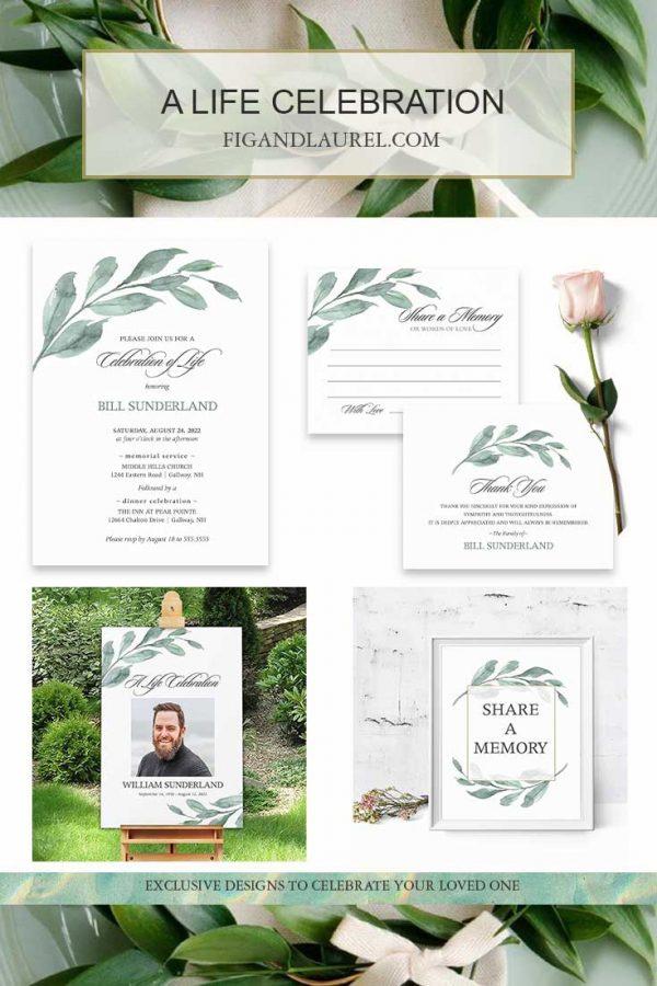 Greenery Celebration of Life Invitations Printed Cards