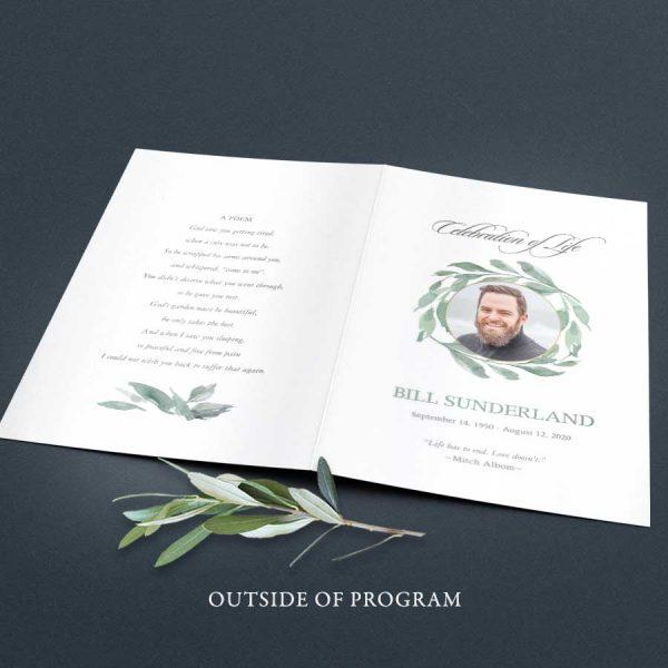 Celebration of Life Program Greenery with Photos Inserted