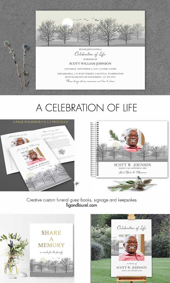 Life Celebration Invitation Tree Silhouettes