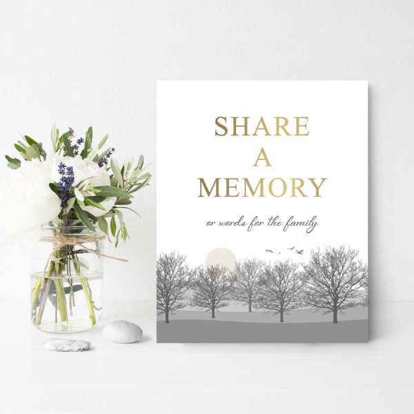 Tree Silhouette Share A Memory Table Sign