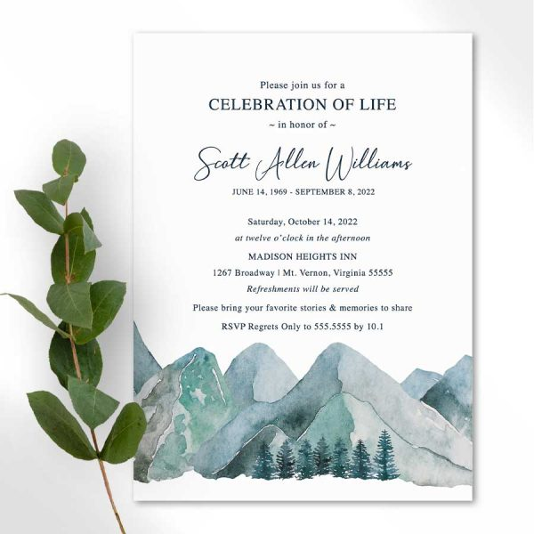 Celebration of Life Printable Template Mountain Theme