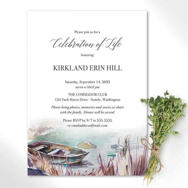 Celebration of Life Invitation Lake and Rowboat Theme