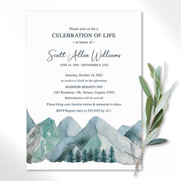 Celebration of Life Invitations Mountain Theme