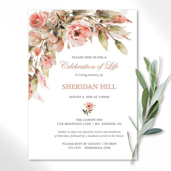 Celebration of Life Invitations with Peach Florals