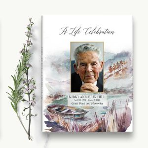 Customized Funeral Guest Books Lake and Boat Theme