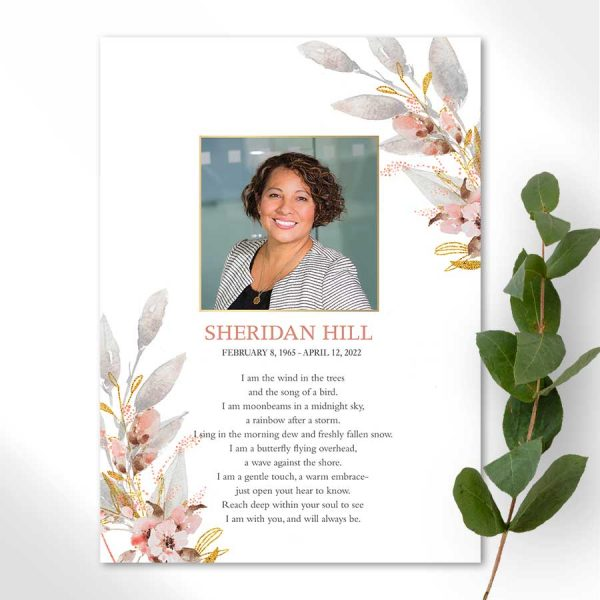 Memorial Cards for a Funeral with Photo and Poem