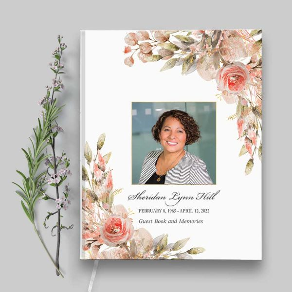 Funeral Guest Book with Photo Hard Bound Cover