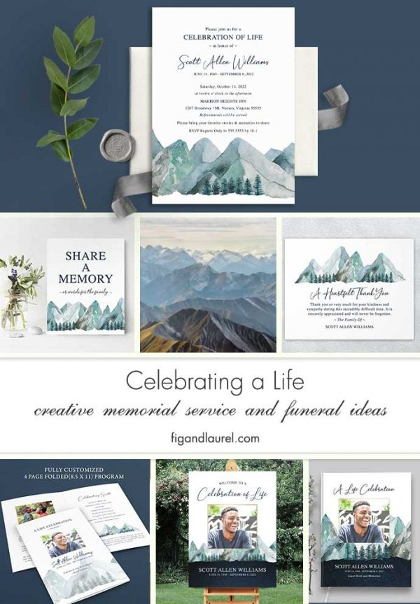 Celebration of Life Invitations Mountain