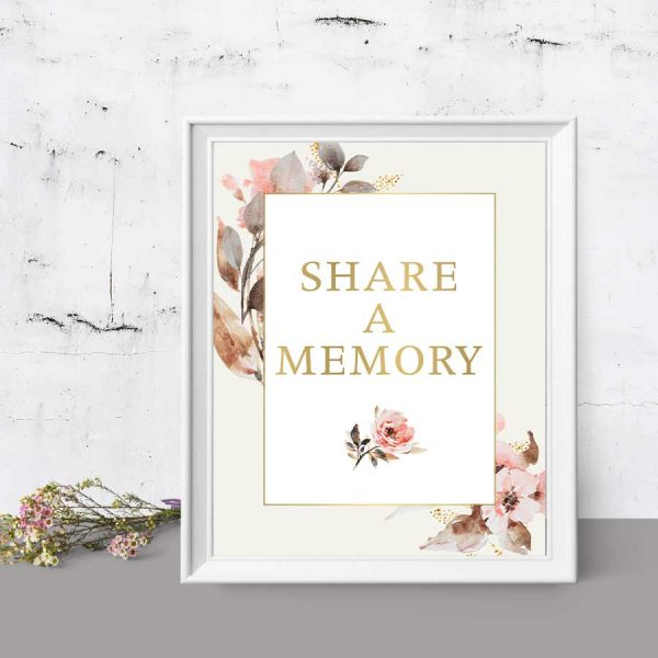 Printable Share A Memory Sign for a Celebration of Life