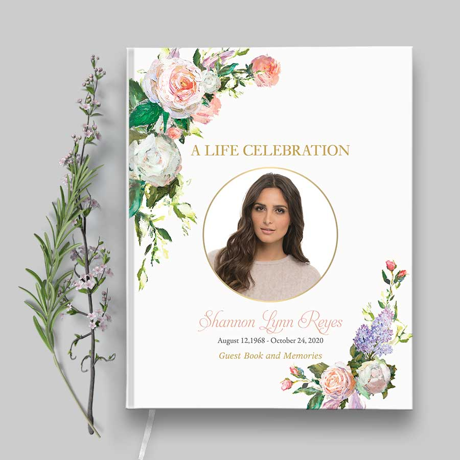 Photo Funeral Guest Book with Elegant Florals
