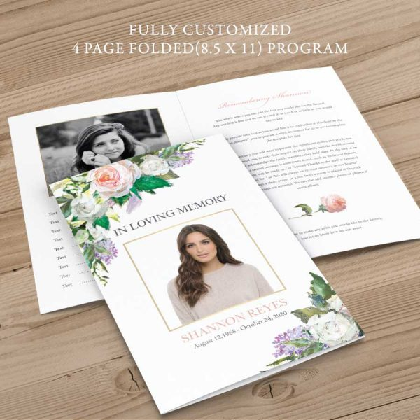Customized Funeral Program Templates Floral