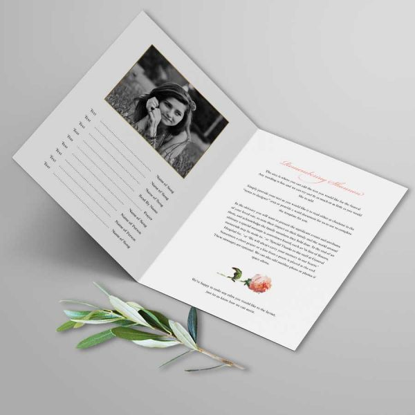 Bifold 4 Page Funeral Program with Garden Florals