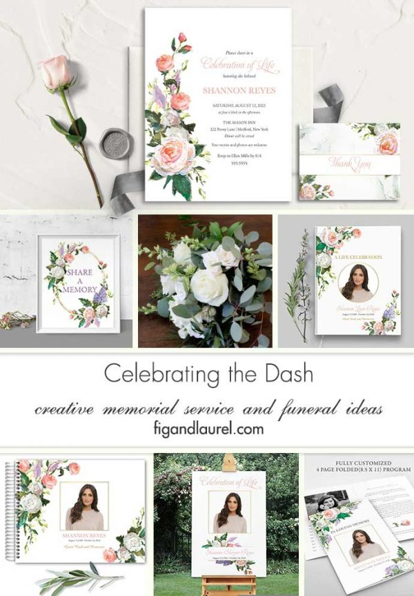Floral Celebration of Life Invitations Painted Garden