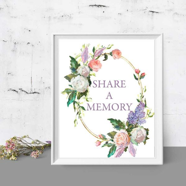 Funeral Decor Memory Sign for a Memorial Table