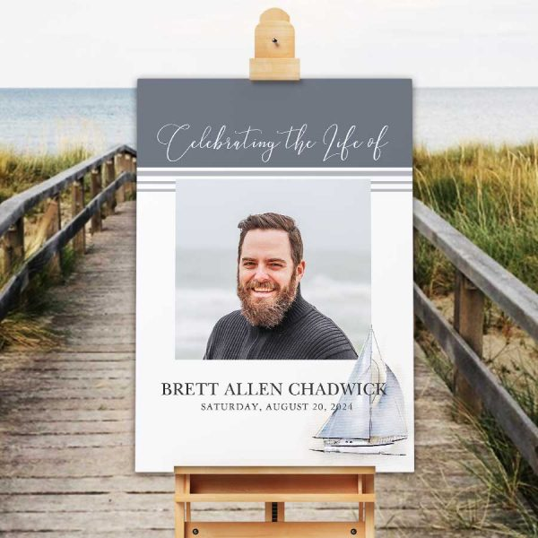 Photo Memorial Welcome Sign Sailboat Theme