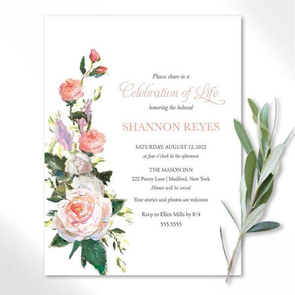 Floral Celebration of Life Invitations