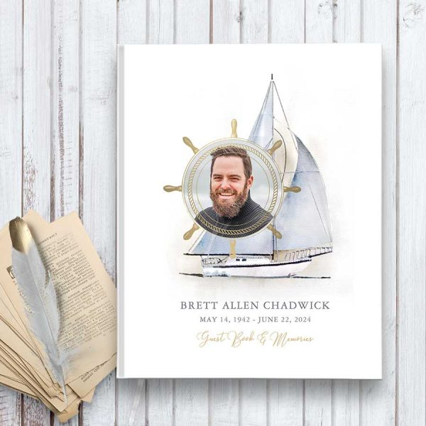 Nautical Funeral Guest Sign in Book