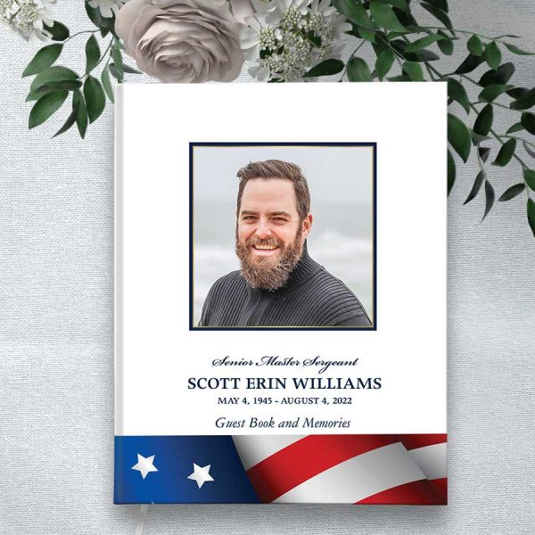 Military Funeral Guest Book with Photo And Flag