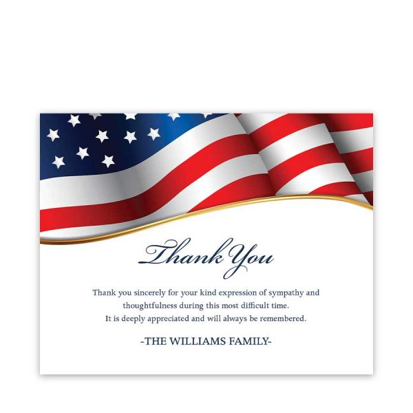 Veteran Funeral Thank You Cards Customized