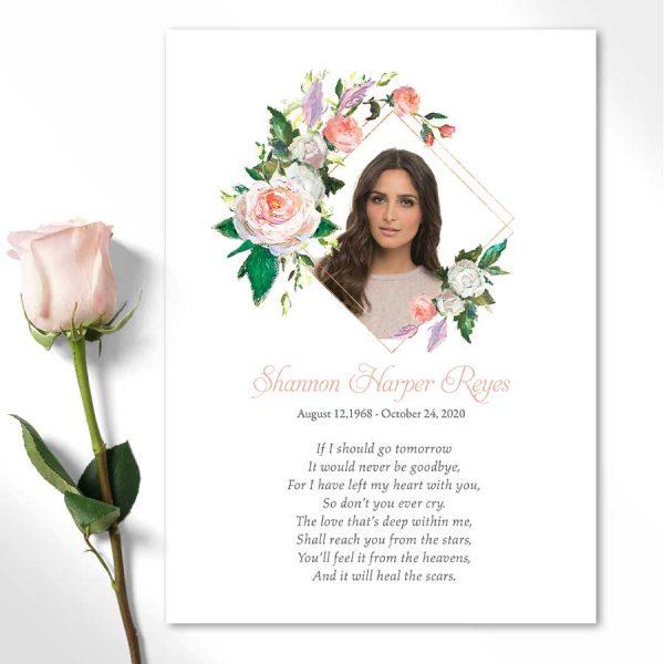 Custom Funeral Keepsake Photo Card with Poem