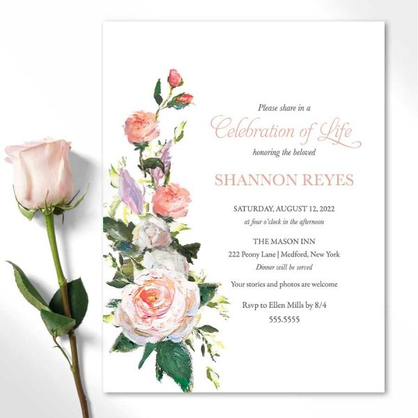 Funeral Invitation Template Feminine Floral Bouquet
