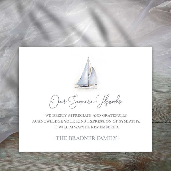 Funeral Thank You Card Sailboat Theme