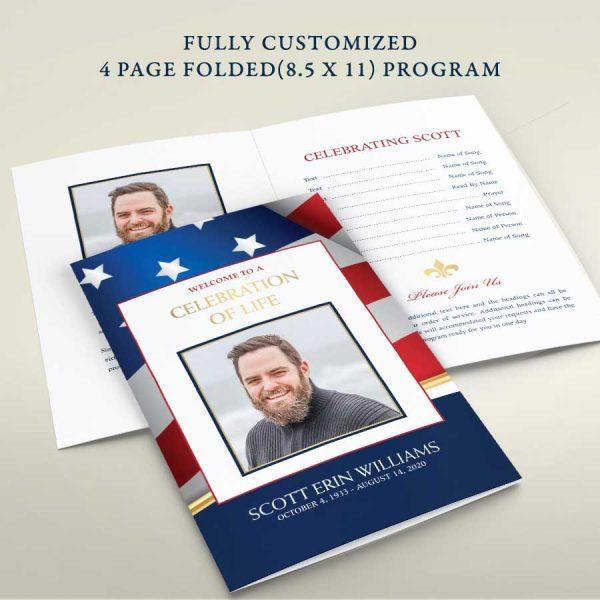 Military Funeral Program Brochure Memorial Service