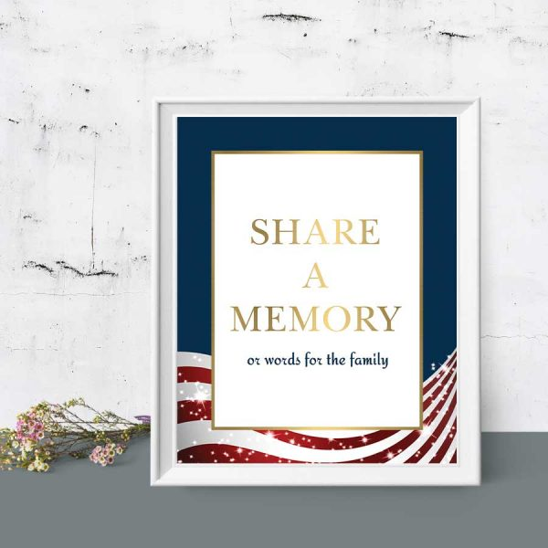 Veterans Funeral Decor Memorial Table Sign