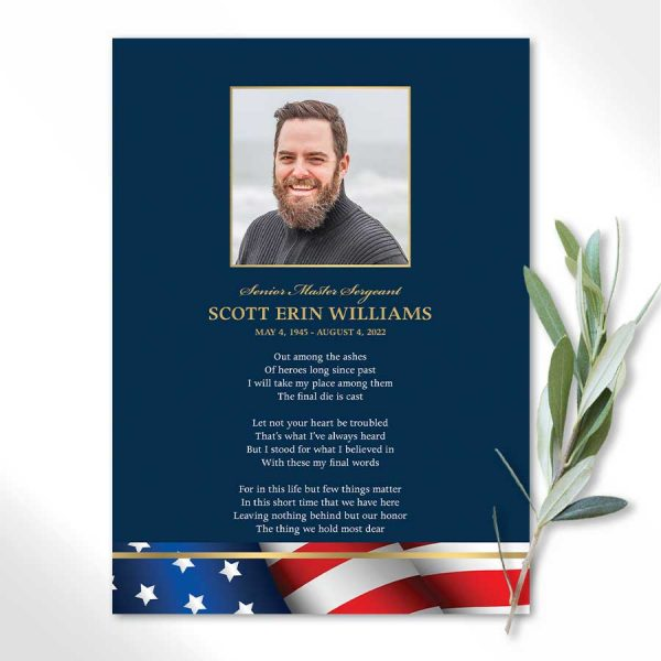 Military Veteran Funeral Memorial Service Cards