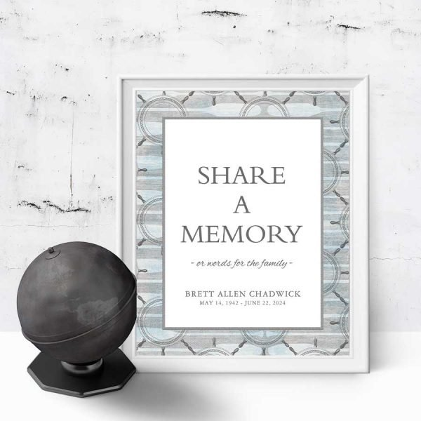 Nautical Share a Memory Sign for Funerals