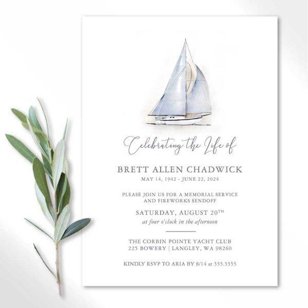 Sailing Celebration of Life Invitations