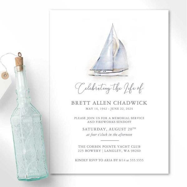 Sailboat Celebration of Life Invitations Watercolor