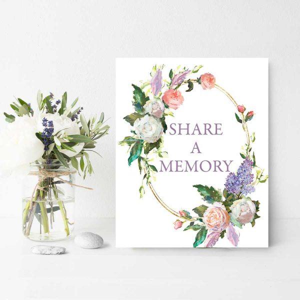 Printable Share A Memory Poster for Life Celebration