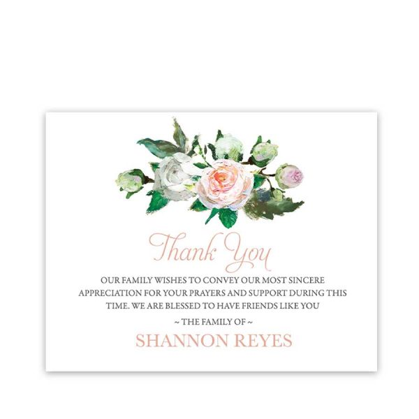 Funeral Sympathy Thank You Cards Floral